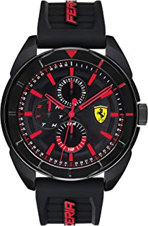 Ferrari Men's Forza Stainless Steel Quartz Watch with Silicone Strap, Black, 22 (Model: 0830547)