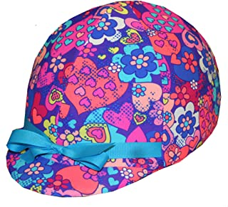 Equestrian Riding Helmet Cover - Hearts & Flowers