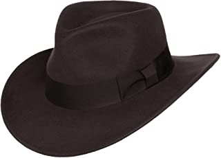 Silver Canyon Boot and Clothing Company Men's Indiana Outback Fedora Hat Crushable Wool Felt