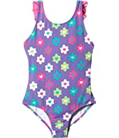 Hatley Kids - Flower Garden Ruffle One-Piece Swimsuit (Toddler/Little Kids/Big Kids)