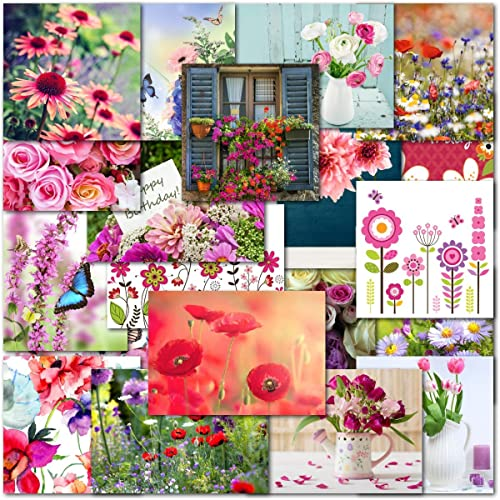 Pack Of 20 Mixed Floral Flower Female Birthday Premium Greeting Cards