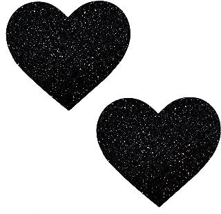 Neva Nude Black Malice Glitter I Heart U Nipztix Pasties Nipple Covers