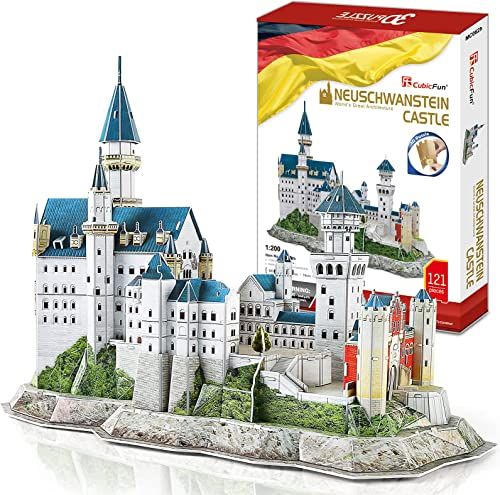 wholesale CubicFun 3D Neuschwanstein Castle Puzzles for Adults wholesale and Teens, outlet sale Germany Architecture Building Model Kits Toys Stress Relief Gifts for Women and Men, 121 Pieces online