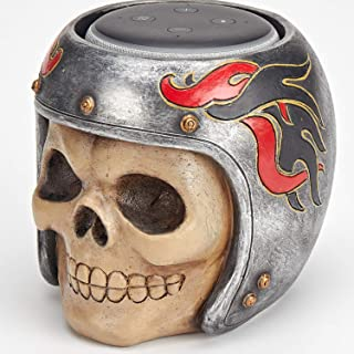 Skull Statue Crafted - Smart Speaker Stand Holder for Echo Dot 3rd Generation Speakers Holder Best Gift Idea for Smart Home, Sliver