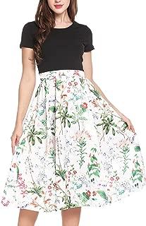 Women's Vintage Dresses Patchwork Floral Short Sleeve A-Line Swing Tea Party Dress