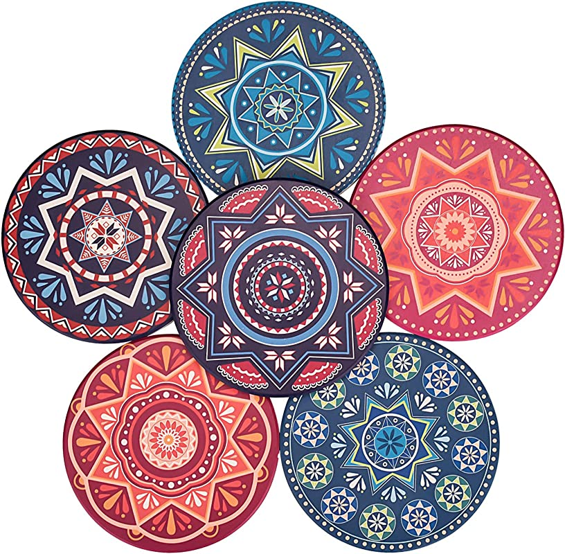 Glotoch Absorbent Ceramic Stone Coasters For Drinks Mandala Drink Coasters Set With Cork Back Prevent Furniture From Dirty And Scratched For Home Office Bar Beverage Cup Mat Sets Set Of 6
