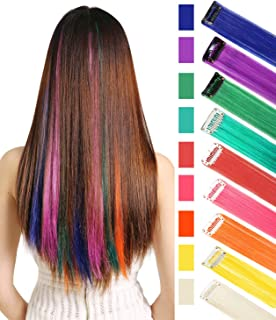 Rhyme CCW 9PCS Wig Pieces for America Girls and Dolls Clip in/On Colored Hair Extensions(Rainbow Color)