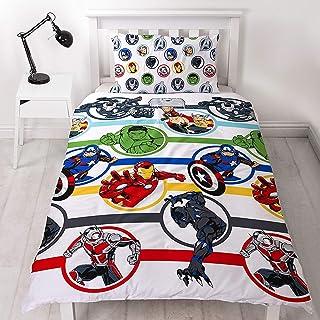 Marvel Avengers - Juego de sábanas para niños con funda nórdica individual (incluye funda de almohada a juego)