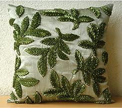 45x45 Cushion Covers Green, Designer Green Decorative Cushion Cover, Ribbon Leaf Tropical Theme Cushions Cover, 45 x45 Thr...