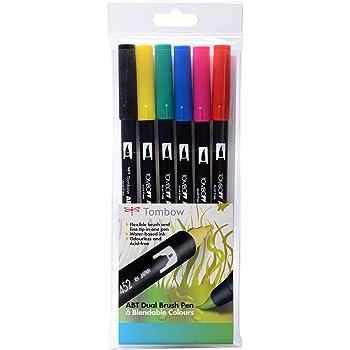 Tombow - Rotuladores (6 unidades, punta de pincel doble, colores ...