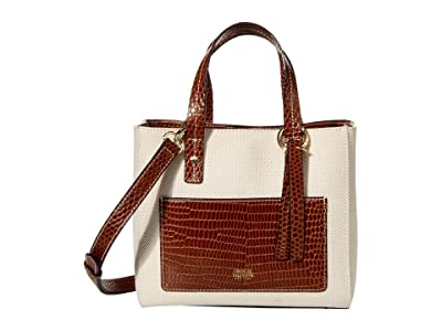 Frances Valentine Small Chloe Salt and Pepper Canvas Tote (Natural/Luggage) Tote Handbags