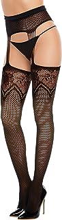 Dreamgirl Women's Multi-Design Fishnet Suspender Garter Pantyhose, Black, One Size