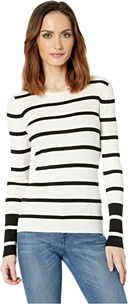 Long Sleeve Rib Stripe Sweater