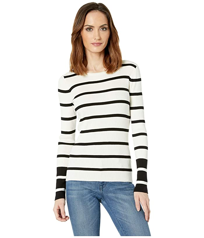 Vince Camuto Long Sleeve Rib Stripe Sweater (Antique White) Women
