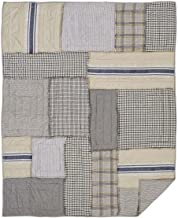 Piper Classics Mill Creek Quilted Throw, Oversized, 70 x 55, Modern Farmhouse Style Bedding, Country Quilted Patchwork Bedding Grain Sack Stripe, Ticking & Plaid Fabrics, 100% Cotton …