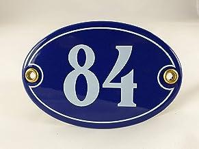 Emaille huisnummerbordje nr. 84, ovaal, blauw-wit Nr. 84 Blau-Weiß + Schrauben und Dübel