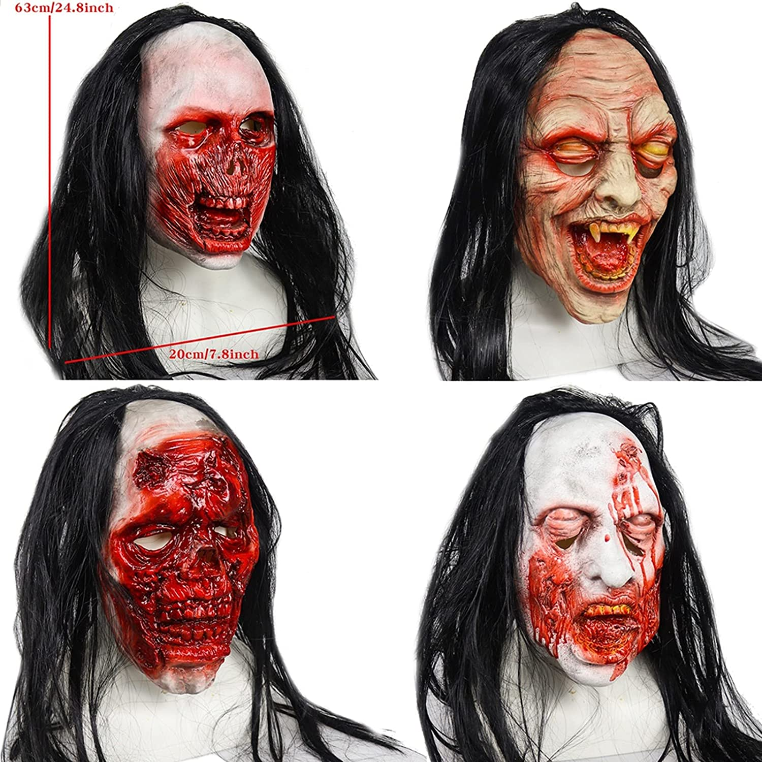 Halloween Horror Bloody Rotten Face Mask Hair Max 60% OFF Super beauty product restock quality top H Latex Black Long