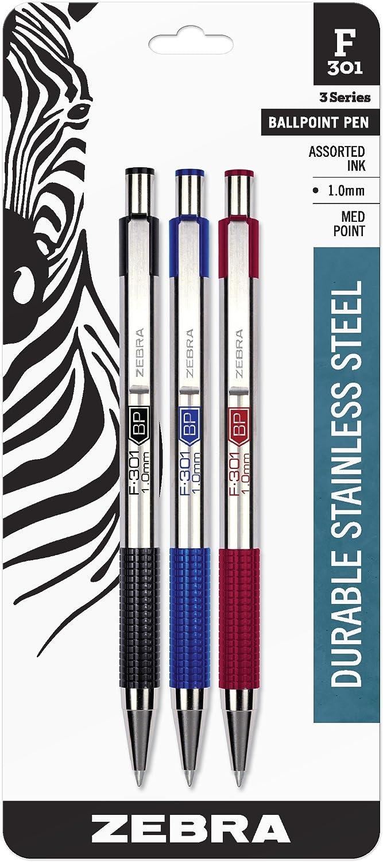 Zebra F-301 Stainless Steel Retractable Ballpoint Pen, Pen, Pen, 0.7mm, Assorted, (27203) by Zebra Pen B0055EB24Y | Optimaler Preis  a180e8