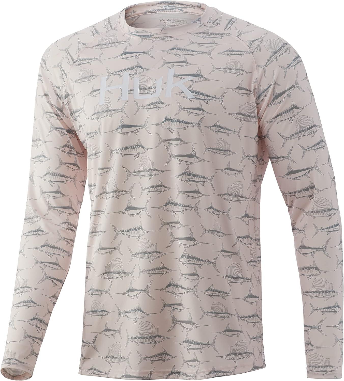 HUK Men's Pattern Pursuit Long Sleeve Performance Fishing Shirt, Barely Pink, Small