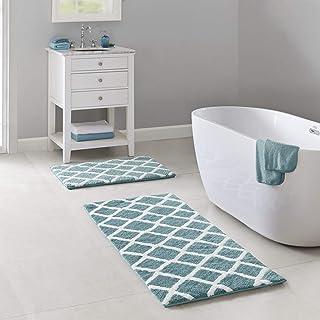 Madison Park Bittman Reversible High Pile Tufted Microfiber Bath Mat Bathroom Rugs, 21x34, Aqua