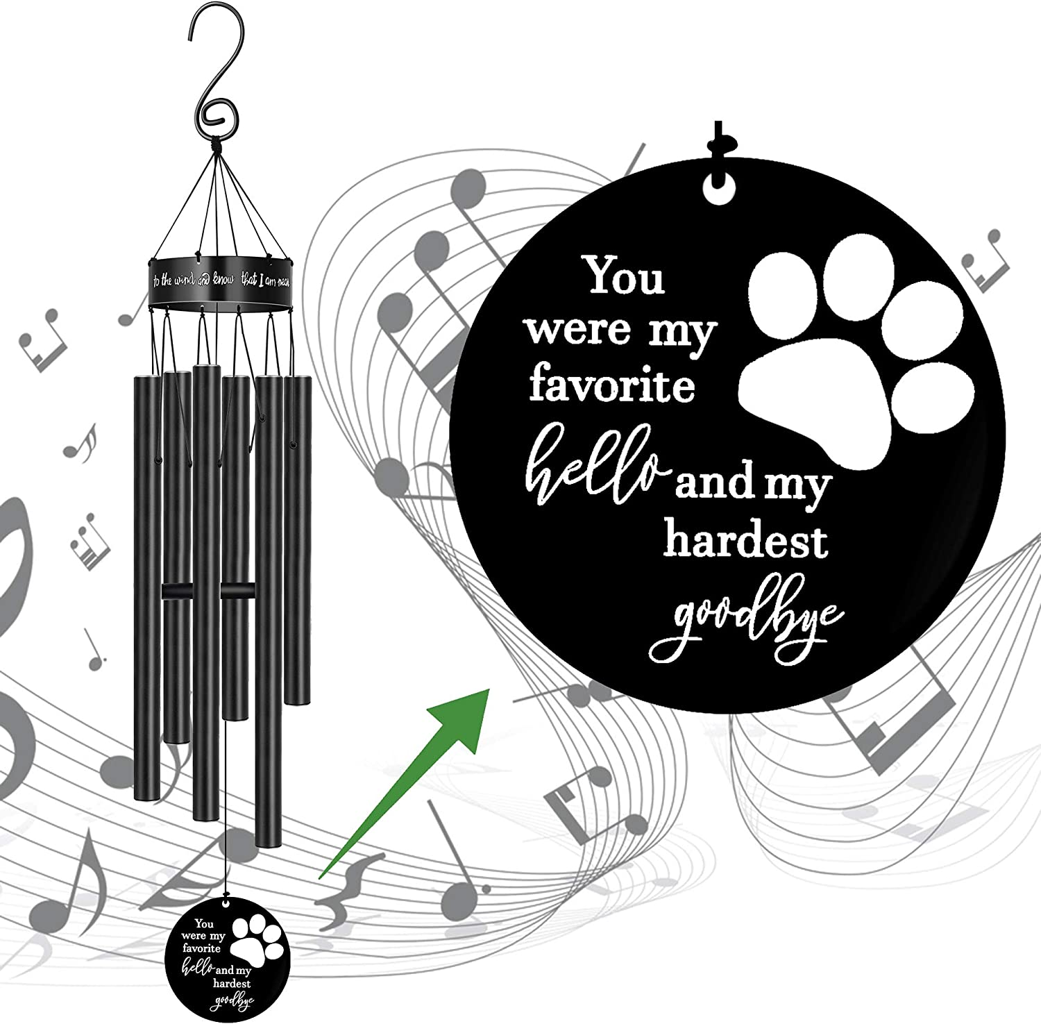 Pet Memorial Wind Chimes for Mail order Loss Dog El Paso Mall Print Paw Sympathy of