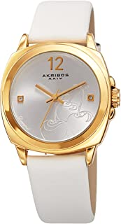 Akribos Xxiv Women's Quartz Watch, Analog Display and Leather Strap Ak902Wt, White Band