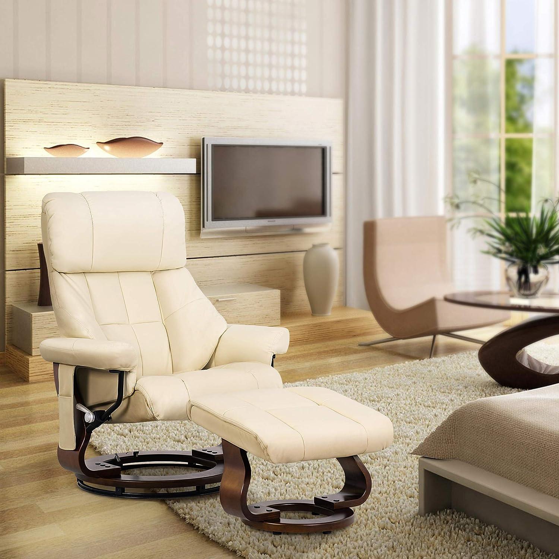MCombo 9068 Fauteuil de relaxation avec repose-pieds pivotant /à 360/° avec poche lat/érale Cr/ème