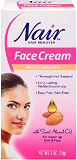 Nair Hair Remover Moisturizing Face Cream, with Sweet Almond Oil, 2OZ