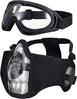 KUYOU Airsoft Mask Adjustable Half Metal Steel Mesh Mask Ear Protection Face Mask with UV400 Goggles Set for Hunting, Painting, Shooting