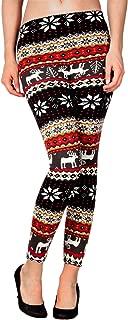 Simplicity Women's Nordic Snowflake Reindeer Knitted Fleece Lined Leggings