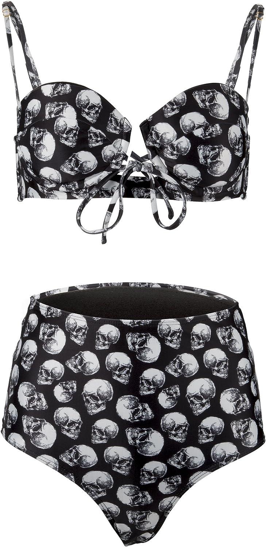Womens Black and White Skull High Waist Bikini Set Two Piece Swimsuit