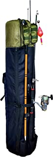 Hoovy Fishing Rod Carrying Case Organizer Storage Pockets and Shoulder Strap for Carrying
