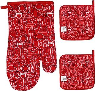 Dokpav 1 Guantes de Horno + 2 Almohadillas de Mantel, Guantes de Cocina de algodón Resistentes al Calor, Manoplas de Cocina,Guantes de Horno Microondas, Guantes Cocinar Hornear Asar Barbacoa (Rojo)