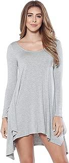 Women's Casual Long Sleeve Trapeze Tunic Dress - Jersey Knit Tunic with Slits