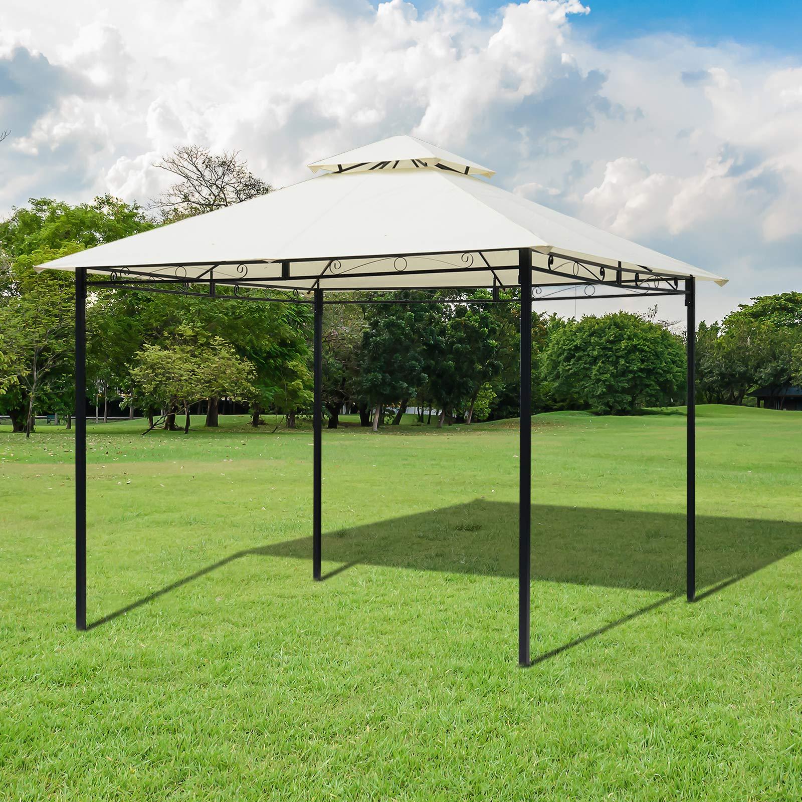 Outsunny - Cenador de jardín doble techo de acero, beige, 3 x 3 m: Amazon.es: Jardín