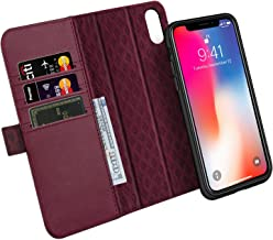 ZOVER Compatible with iPhone Xs/X Case Detachable Genuine Leather Wallet Case Support Wireless Charging Magnetic Car Mount Holder Kickstand Feature Magnetic Closure Gift Box Wine Red