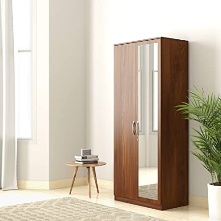 Amazon Brand - Solimo Medusa Engineered Wood Wardrobe With Mirror Walnut , 2 Doors
