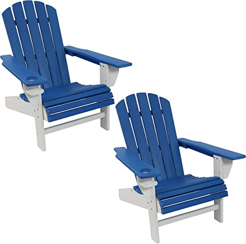 new arrival Sunnydaze All-Weather Blue/White Outdoor Adirondack Chairs with Drink Holders - Set of 2 - Heavy Duty high quality HDPE Weatherproof Patio Chair - wholesale Ideal for Lawn, Garden, and Around The Firepit outlet online sale