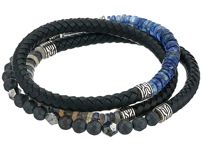 John Hardy  6 mm Classic Chain Silver Triple Wrap Bracelet on Black Leather with Hook Clasp (Blue) Bracelet