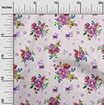 oneOone Velvet Pink Fabric Leaves & Watercolor Flower Floral Sewing Material Print Fabric by The Yard 58 Inch Wide