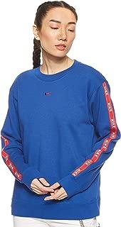 Nike Women's CREW LOGO TAPE Sweatshirts, Red (Indigo Force/university Red ), Small (NKAR3054)
