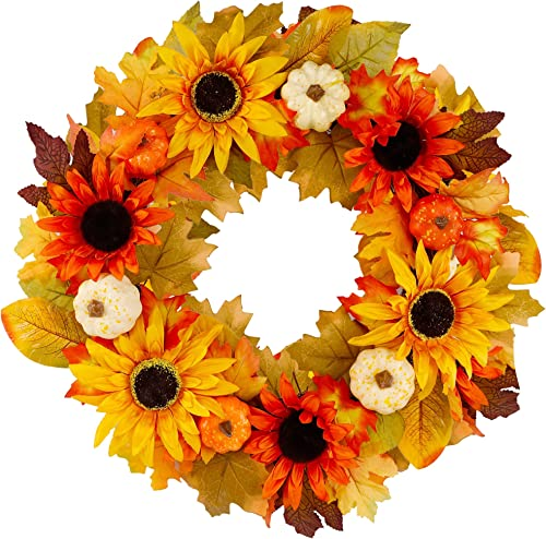 """discount Twinkle Star 20"""" Fall Wreath, Large Autumn Sunflowers Harvest Wreath, Pumpkins, Artificial Flower and Maple Leaves, Front 2021 Door Wall Wreath for online sale Indoor Outdoor Halloween Thanksgiving Decorations online sale"""