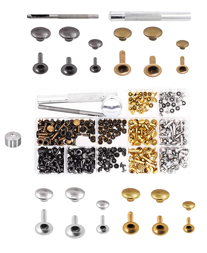 Mandala Crafts Assorted Tubular Metal Rivet Studs & Hole Punch Tool Kit Set for Leather Repair and Clothing Decoration (6mm 8mm 180 Sets, Silver Gold Antique Brass Gunmetal)