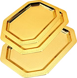 Maro Megastore (Pack of 3) Three Sizes Large:20.9 x 14.6-Inch Medium: 18.1 x 13-Inch Small: 14.6 x 10.4-Inch Iron Gold Plated Octagonal Serving Tray Brick Pattern Engrave Decorative Wedding 711 Ts-139