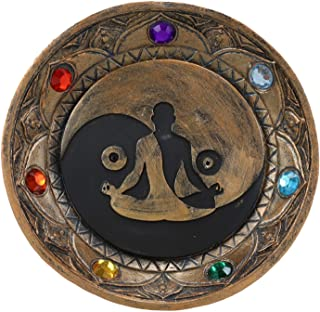 Ebros Gift Yoga Meditation Yin Yang Symbol with Chakra Zone Color Beads Incense Sticks Holder Burner Round Dish Medallion ...