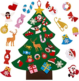 Sunolga Christmas Tree for Toddlers Kids,3ft DIY Felt Christmas Crafts Tree with 30pcs Ornaments and Hanging Rope Wall Doo...