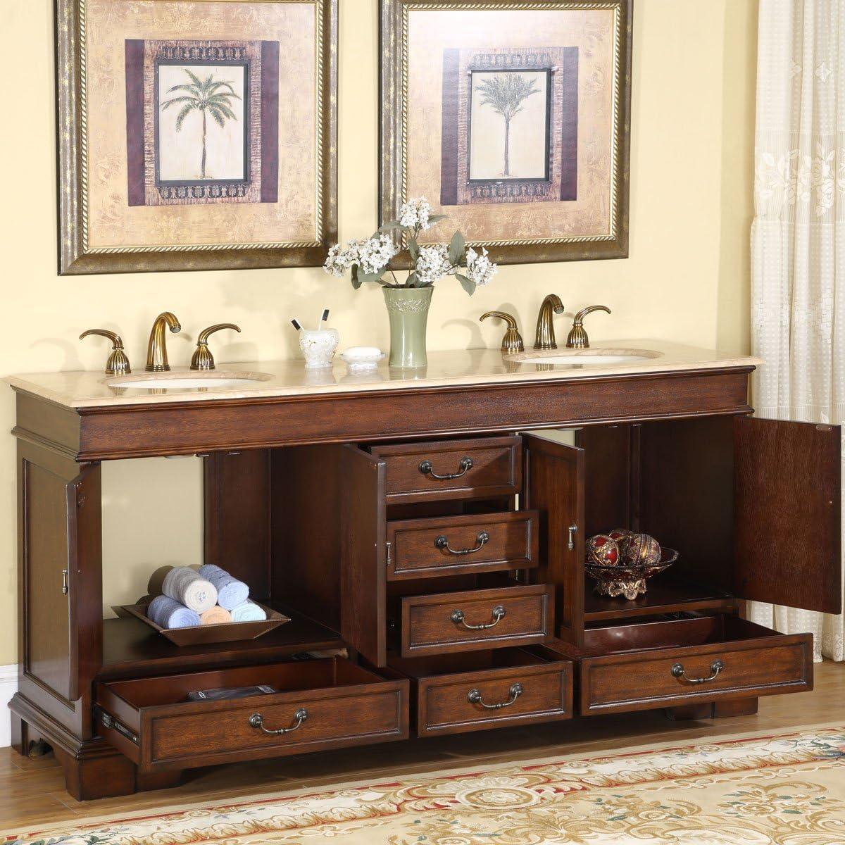 Buy Silkroad Exclusive Travertine Stone Top Double Sink Bathroom Vanity With Cabinet 72 Brown Online In Germany B005h7yyki