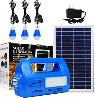 GCSOAR Solar Portable Generator DC Lighting Kit Multifunction Solar Power DC Lighting System with 8V/8W Solar Panel, 3 LED...