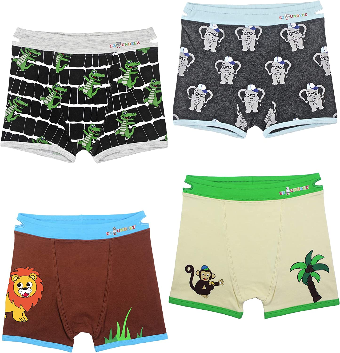 Boys Boxer Briefs Toddler Training Underwear Easy Pull Up Handles (4 Pack)