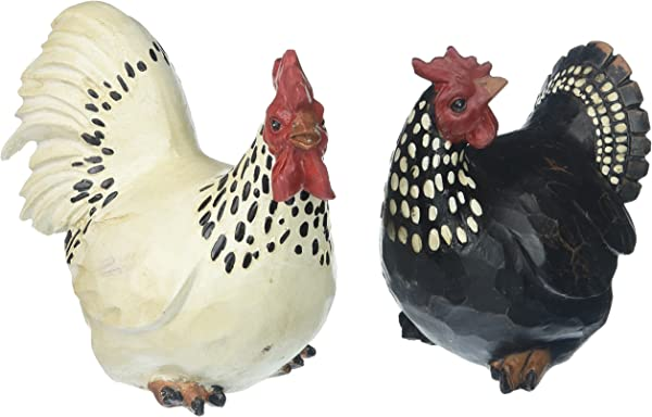 Abbott Collection 27 BW 590 Sitting Rooster Hen Set Of 2